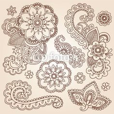 Vecteur : Henna Paisley Mandala Tattoo Doodle Vector Design Elements Set