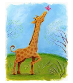 Baby Giraffe, acrylic on illustration board. www.madsahara.com