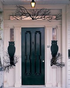 owl night watchersa pair of wideeyed owls guard the front door to make their perches use a few bare branches black and wedge into place