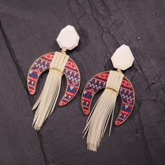 Wood Earrings with Fringe