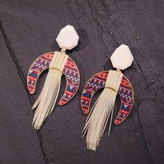 Wood Earrings with Fringe