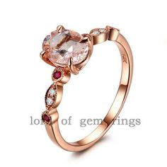 6x8mm Oval Morganite and Diamond / Ruby Engagement Ring in 14K Rose Gold