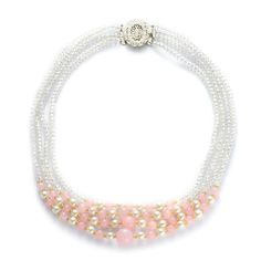 Liquidation Channel - Affordable Pink Quartzite, Yellow and White Glass, White Glass Pearl Necklace (18 in) in Silvertone