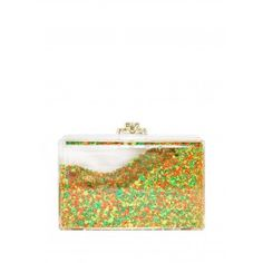 Clear lucite exterior and interior clutch filled with citrus milti color rocks and brass hardware