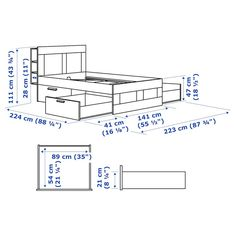 BRIMNES Bed frame with storage & headboard, white, Lönset, Queen. A bed frame with hidden storage in several places – perfect if you live in a small space. The BRIMNES series has several smart solutions that help you save space. Adjustable Beds, Adjustable Shelving, Hide Cables, Painted Beds, Black Headboard, Full Headboard, Bed Frame With Storage, Bed Slats, Wood Projects