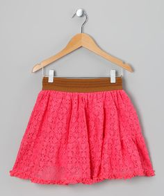 Take a look at this Poof! Coral Lace Skirt - Girls on zulily today!