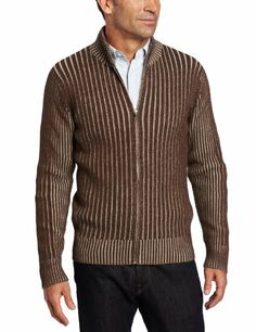 Amazon.com: Alex Stevens Men's Ribbed Full Zip Mock Neck Sweater, Portobello, Small: Clothing
