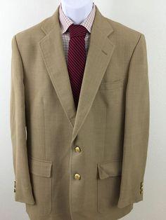 Men's Classy Palm Beach Blazer 44R Beige 2 Gold Buttons Wool Blend  #PalmBeach #TwoButton