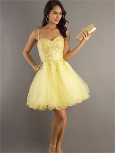 Attractive Spaghetti Straps Sleeveless Daffodil Tulle Beading A-line Zipper Up  Short Length Prom Dress Cocktail Dress e033fbc531f2