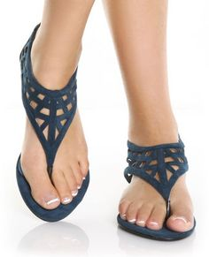 GoMax Orleans 09 Royal Blue Suede Low Rise Thong Sandals, $32.00