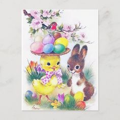 Easter Art, Easter Bunny, Holiday Postcards, Holiday Cards, Vintage Easter, Retro Vintage, Easter Holidays, Love Messages, Postcard Size