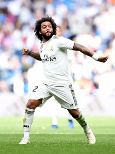 MADRID, SPAIN - OCTOBER Marcelo of Real Madrid celebrates after scoring his sides first goal during the La Liga match between Real Madrid CF and Levante UD at Estadio Santiago Bernabeu on October 2018 in Madrid, Spain. (Photo by Denis Doyle/Getty Images) Soccer Players, Football Soccer, Mc 12, Messi And Ronaldo, Real Madrid Players, Gareth Bale, Scores, Champion, Goals