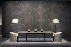 luxury living room-grey leather furniture // armani casa