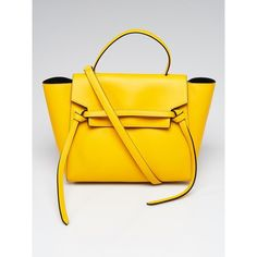 Pre-owned Celine Yellow Smooth Leather Mini Belt Bag ($1,095) ❤ liked on Polyvore featuring bags, handbags, shoulder bags, structured purse, shoulder bag purse, pre owned handbag, shoulder bag and yellow shoulder bag