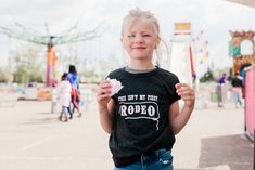 Perfect for the midway, rodeo, PNE, Stampede and K-Days. Howdy, This Isn't my First Rodeo. I'm Just Here for the Mini Donuts. Hold my Bear. Rodeo Girls, Mini Doughnuts, Calgary, Bear, T Shirts For Women, Tops, Fashion, Moda, La Mode