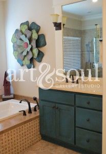 bathroom vanity painted with a mix of florence and napoleonic blue chalk paint