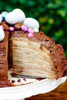 Chocolate-Amarula Crepe Cake - make this THM style using crepes and chocolate frosting on plan! Just Desserts, Delicious Desserts, Yummy Food, Baking Recipes, Cake Recipes, Dessert Recipes, Chocolate Crepes, Chocolate Orange, Chocolate Frosting