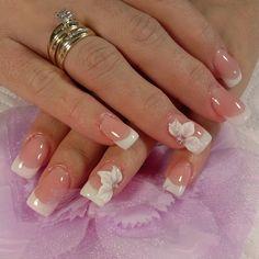 3D Elegant Nail Designs, Pretty Nail Designs, Elegant Nails, Nail Art Designs, Pink Nail Art, Pink Nails, Glitter Nails, French Nails, Bride Nails