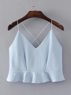 Shop Criss Cross Back Ruffle Hem Cami Top online. SheIn offers Criss Cross Back Ruffle Hem Cami Top & more to fit your fashionable needs. Crop Top Outfits, Trendy Outfits, Girl Outfits, Summer Outfits, Cute Outfits, Fashion Outfits, Summer Dresses, Fashion Trends, Cami Tops