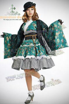 "Wa Lolita, ""Autumn Fan"" Kimono/Yukada 5pcs Set*Green"