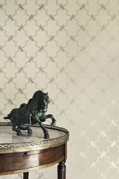 'Horse Trellis' wallpaper (metallic stone)...I love this! It is modern and geometric, yet traditional in feel...