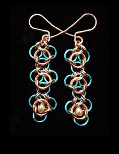 Not Tao 3 copper and enameled copper with freshwater pearl chainmaille earrings.  These earrings are just under 1.5 inches long. Handmaden Designs LLC. SOLD