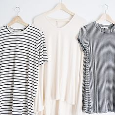 """Stripes and neutrals  Essentials for Spring! Find these tunics online at www.shoplovestreet.com #shoplovestreet ✨"""