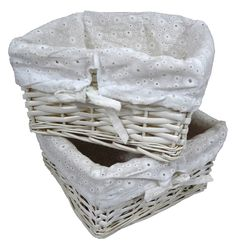 Set of 2 Small Square White Wicker Storage Basket with Pure White Lining: L-23cm x W-23cm x H-12cm