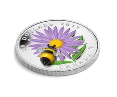 Fine Silver Coin - Aster with Venetian Glass Bumble Bee - Mintage: