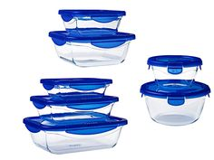 Pyrex Cook & Go Set of Glass Food Storage Container with airtight and Leakproof 4 Clip Locking lid – Oven, Freezer and Microwave Units, 7 Pieces Storage Containers, Food Storage, Conservation, French Kitchen, Made In France, Save Energy, The Unit, Cooking, Kitchen Organization