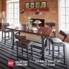 Dine for days! Robust Character. A deep, luscious mahogany hue brings out the exquisitely timeless character of the Newcastle counter-height dining collection. Gorgeous veneers showcase the grains and textures of the hardwood across every piece.