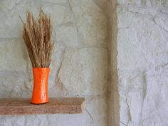 Orange Vase / Glass and stone Handpainted Vase by Kristin - Carriage Oak Cottage. $22.00, via Etsy. #homedecor  #art