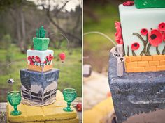 I don't even really like the Wizard of Oz, but the creativity of this cake is just too cool! Look at the tiny house hanging by the twister and the balloon between the field of poppies and the emerald city!