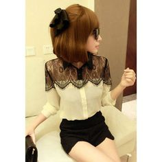 Stylish Shirt Neck Black Lace Splice Long Sleeve Chiffon Women's Shirt, AS THE PICTURE, ONE SIZE in Blouses | DressLily.com