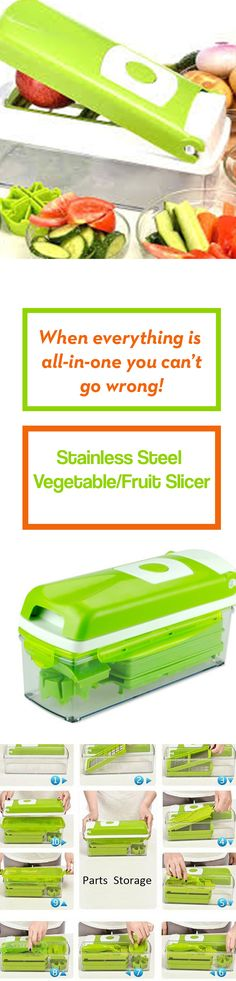 This 12 Piece set multi-functional Vegetable/Fruit slicer is just the perfect thing for your kitchen. With 12 different options, you can cut your vegetables and fruits into cubes, sticks, wedges, and