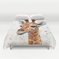 Duvet Covers featuring Giraffe Baby by Olechka
