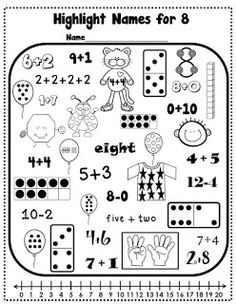 Find 8 and Find 10- two great free handouts for math review! First Grade Bloomabilities: Some Math Freebies