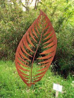 Mild steel Garden Or Yard sculpture by artist Peter M Clarke titled: 'Leaf Form II (Big Metal Leaf Sculpture)'