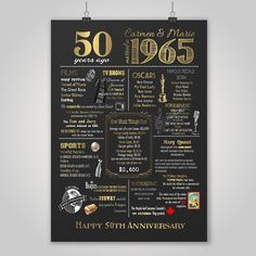 Personalized 50th Anniversary Chalkboard Poster Design, 1965 Events & Fun Facts, 50th Anniversary Gift, What Happened in 1965, Digital File