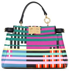 "Fendi SS 2015 ""Micro Peekaboo"" mixed-stripe satchel bag."