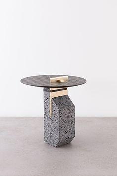 Small Pillar, 2014 Basalt, Occhio di pernice basalt, brass, textile. de natura fossilium-tables and stools - Formafantasma