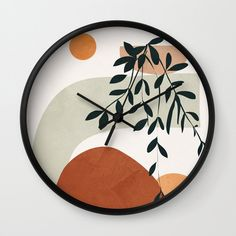 Soft Shapes I Wall Clock by Wall Clock Drawing, Clock Painting, Painting Frames, Painting On Wood, Pottery Painting Ideas Easy, Abstract Line Art, Round Design, 2d Art, City Art