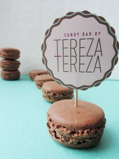 Our dark chocolate raspberry macrons are beautiful, delicious and out of this world. Candy Bar by Tereza & Tereza