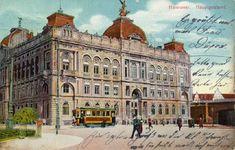 HANNOVER * 1910 Hauptpostamt neben dem hannoverschen Hauptbahnhof. Die Unterführung am rechten Bildrand besteht heute noch.