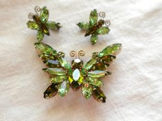 Juliana Butterfly Brooch and Earrings in Olivine and by lauraab51, $63.00