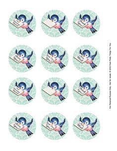 Alle Größen | Free Vintage Bluebird Clip Art 2 in circles page by FPTFY | Flickr - Fotosharing!