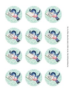 Free Vintage Bluebird Clip Art 2 in circles page by FPTFY by Free Pretty Things For You!, via Flickr