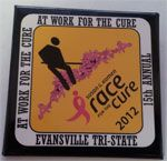 "At Work for the Cure - Have to work on Race day? Sign up to be ""At Work for the Cure"" and you will get this button to wear at work!"