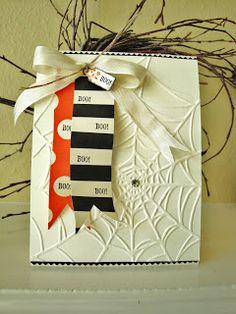 Cute Embossed Spider Web Halloween Card...penguinstamper. The spider web folder is from SU.