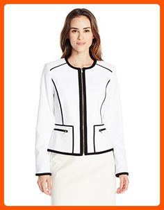 9db4d6e9a09 Calvin Klein Women s Detail Jacket Structured collarless jacket with  contrast piping featuring zip front and zippered side pockets